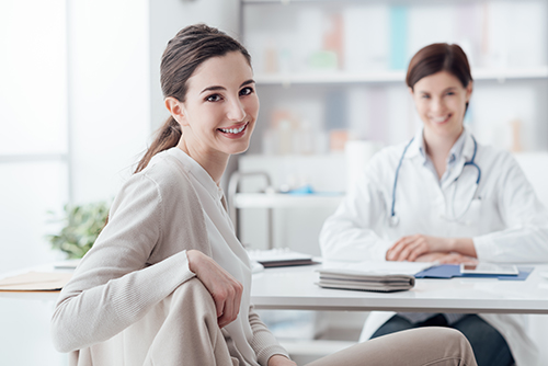 an image of a patient during a consultation with a doctor