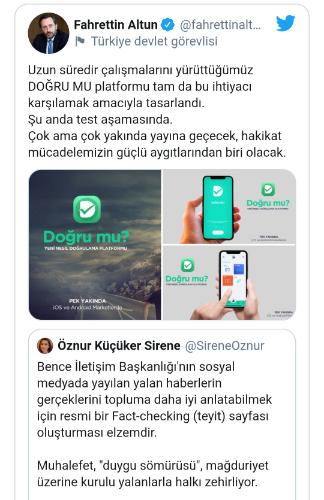 Cumhurbaşkanlığı İletişim Başkanı Fahrettin Altun teyit platformunu sosyal medyadan duyurdu