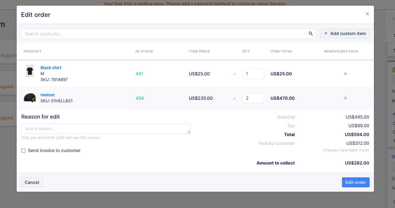 Editing Shopify orders in Gorgias tickets