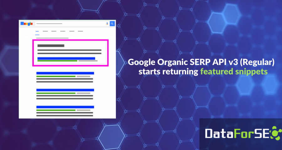Featured snippets added to Google Organic Regular SERP API v3