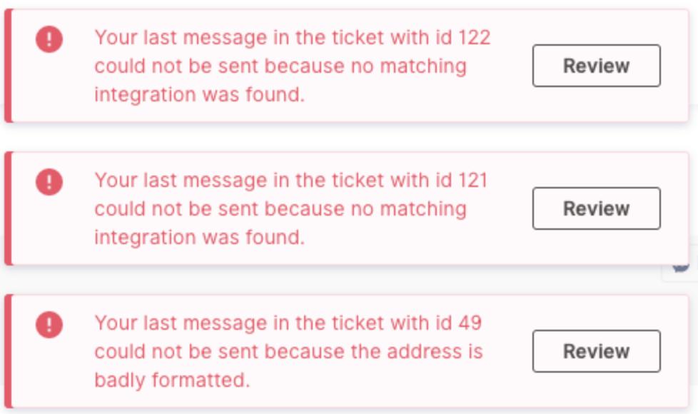 Message failure pop-up notification improvement