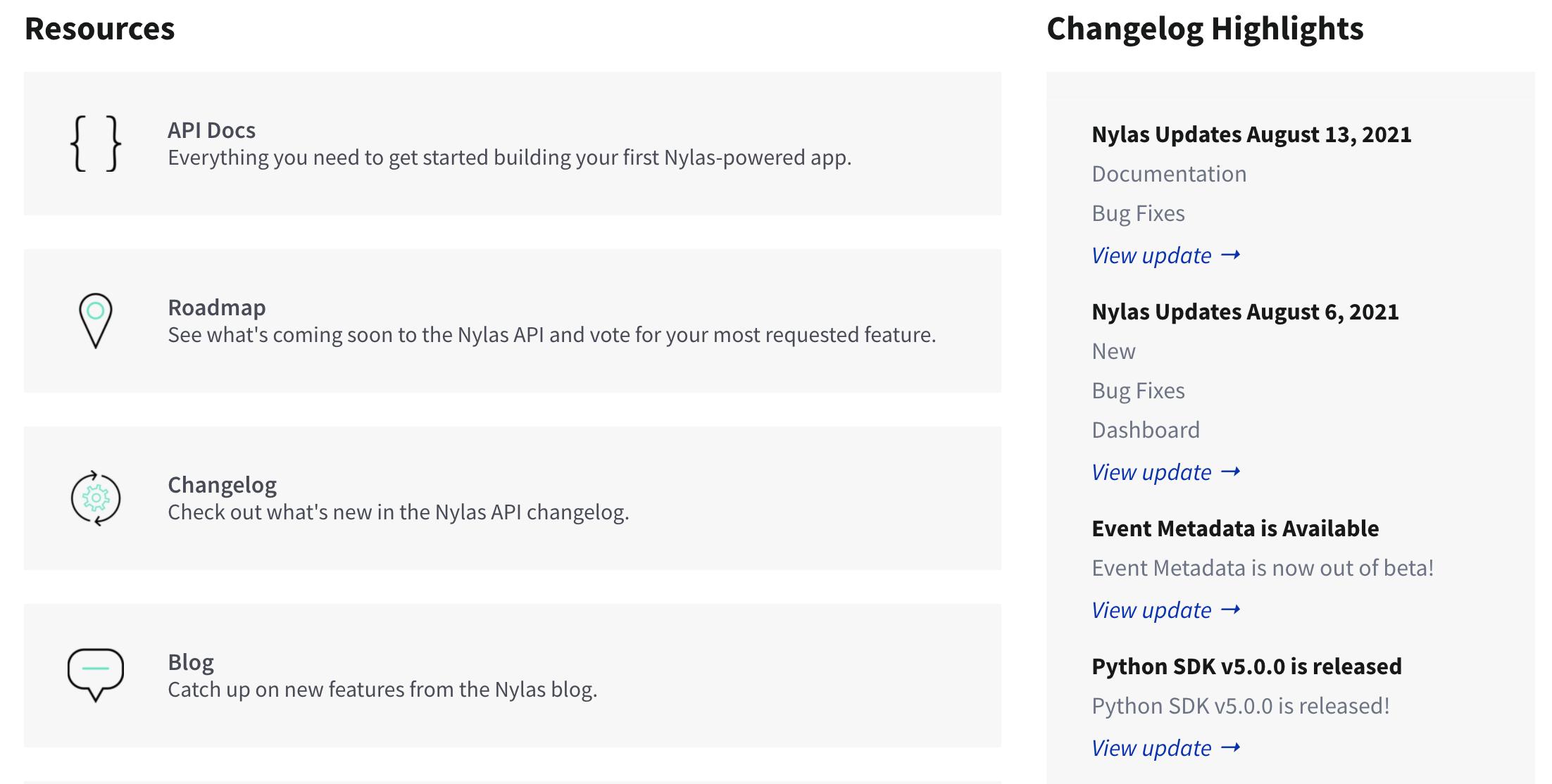 Nylas Updates August 20, 2021