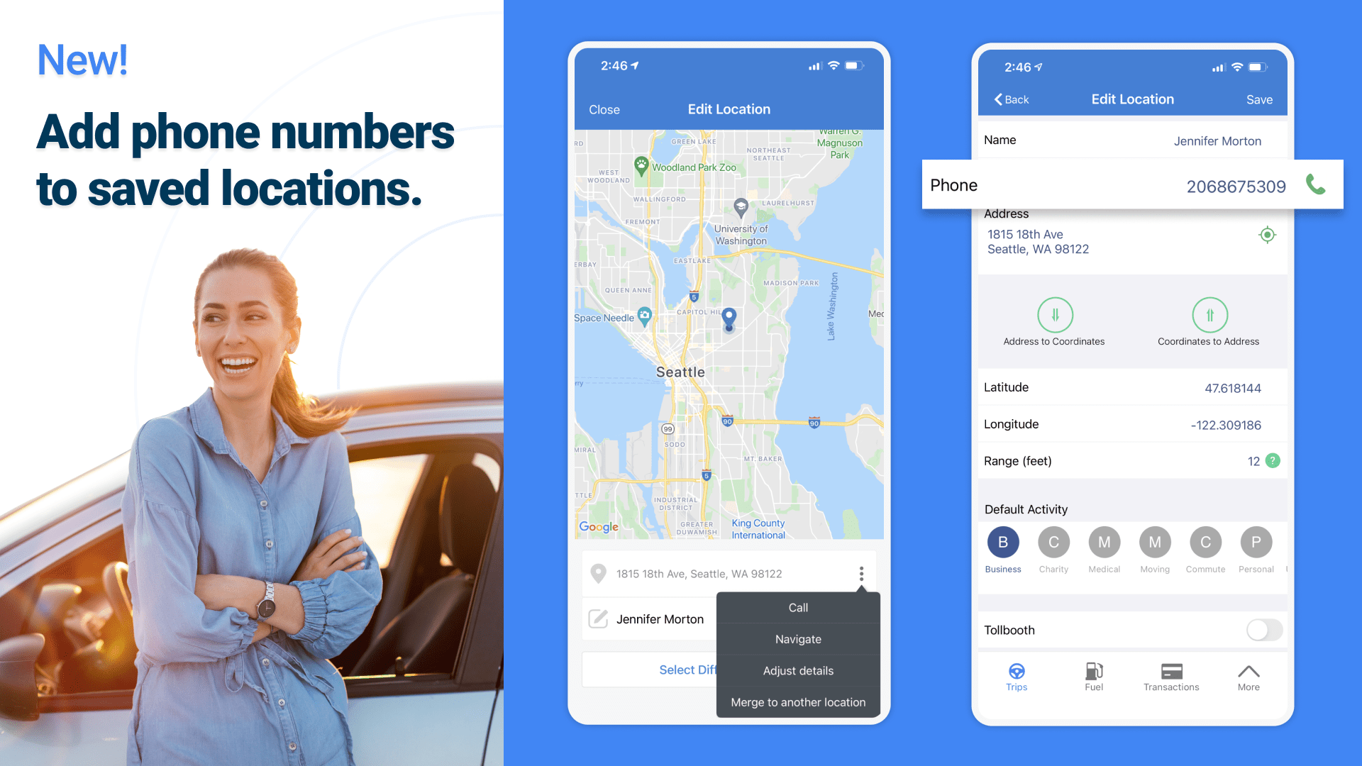 Add a Phone Number to Saved Locations