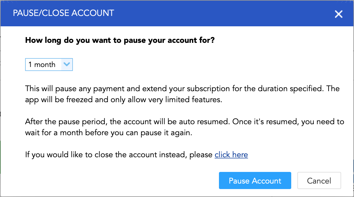 Pause/Resume account and payment
