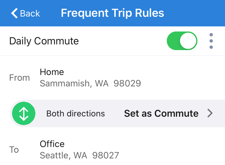 Auto classification rules for frequent trips