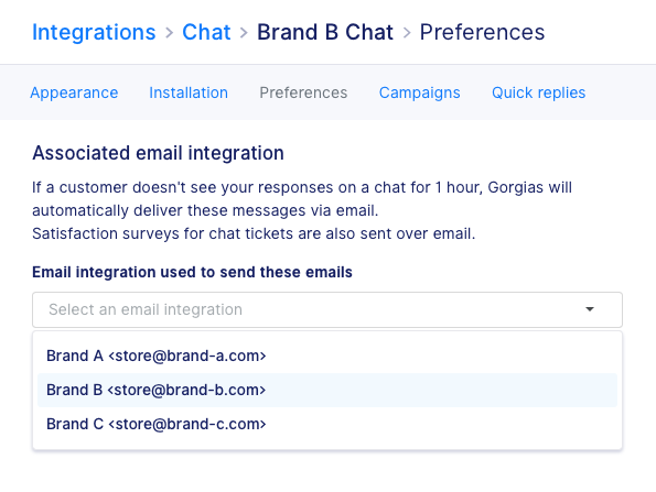 Multi-brand: Link email integrations to chat integrations