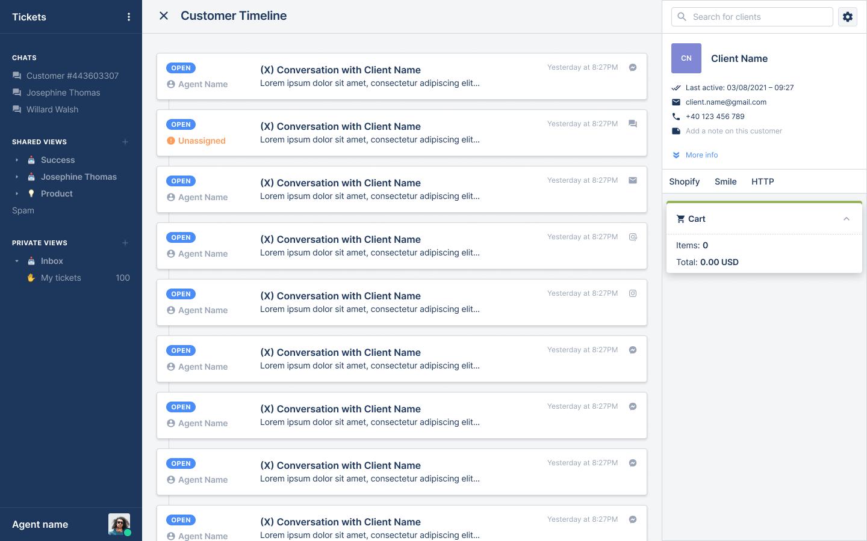 Customer timeline redesign