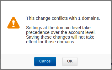 Domain-specific Settings Warning