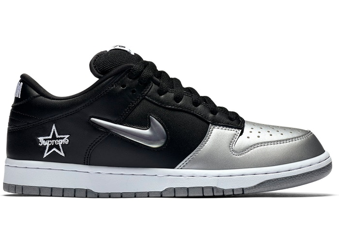 SB Dunk Low Supreme Jewel Swoosh Silver