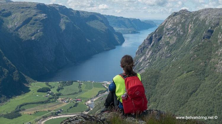 Utsikten fra Eikeknuten utover Ørsdalsvatnet med fjellene rundt