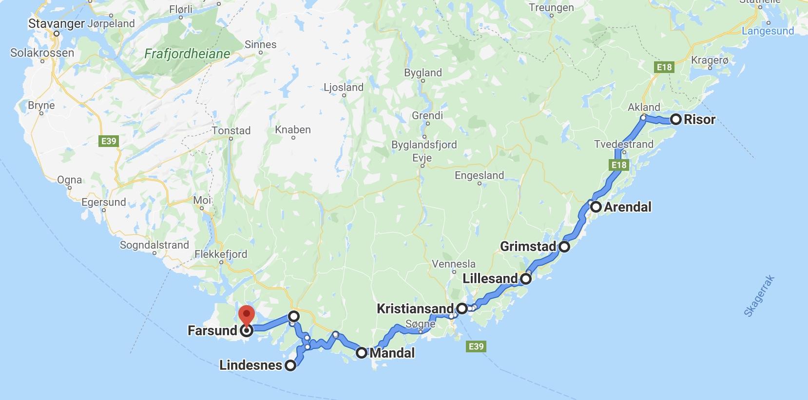 reiserute tegnet opp i google maps