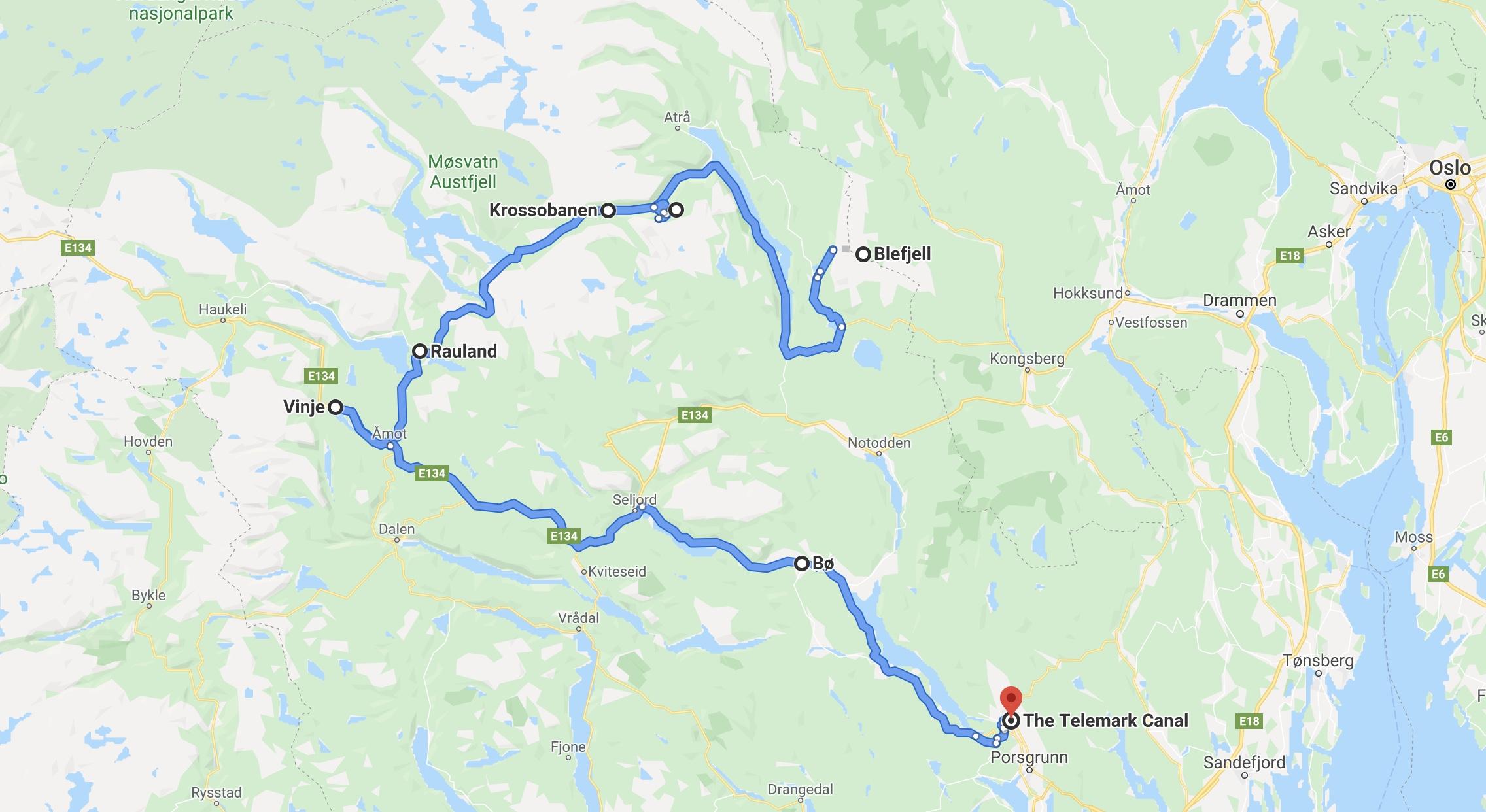 Reiserute i google maps