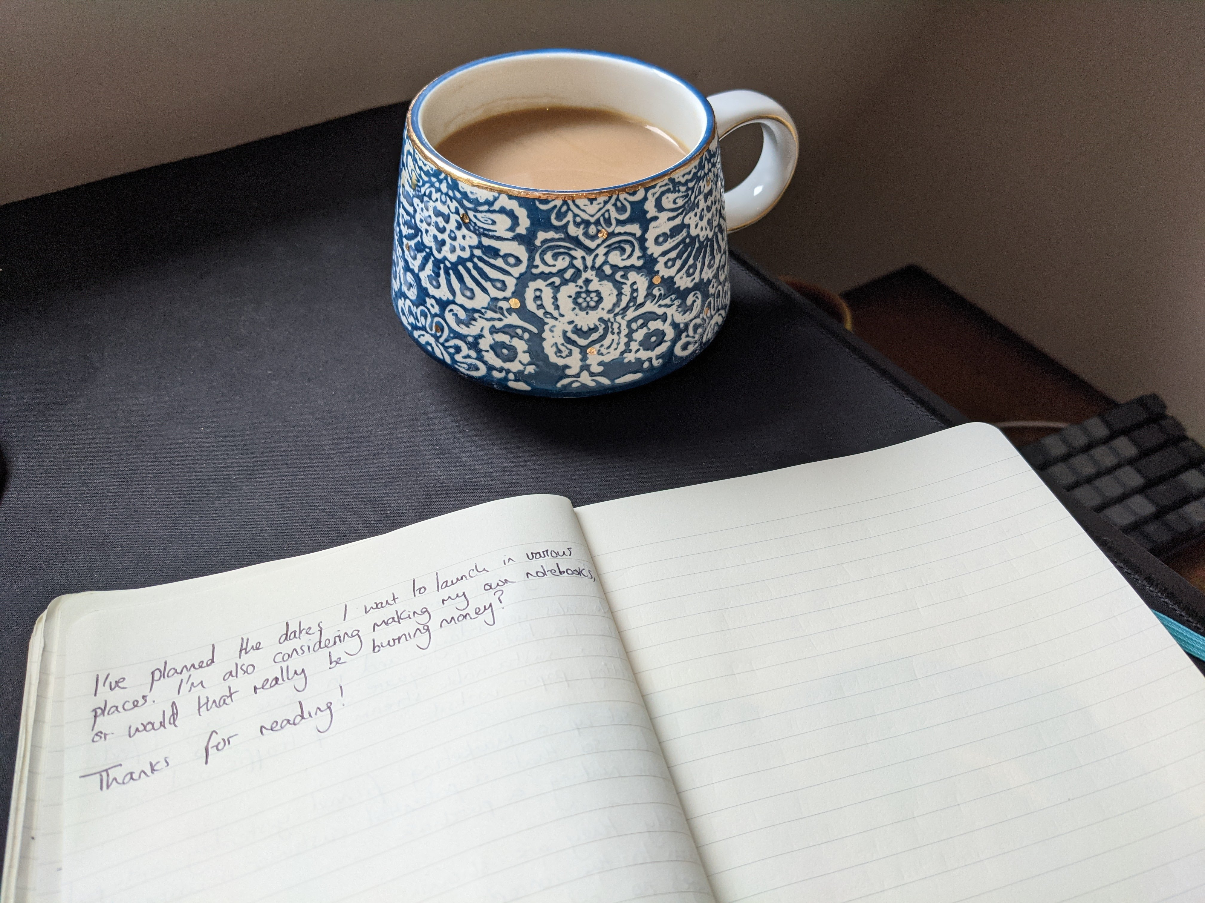 (My writing setup this morning with a nice cup of tea!)