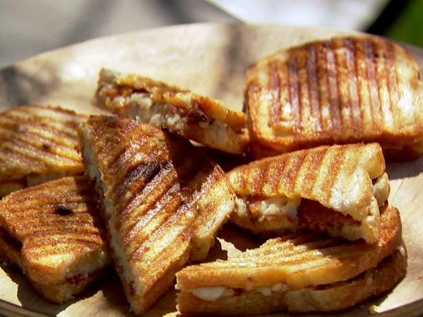Grilled cheese sandwiches on party platter