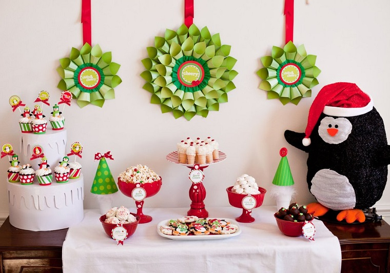 Red and Green dessert table with Christmas Pinguin