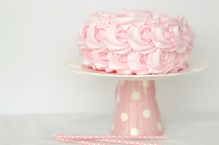 Pink Flower Cake On Turntable