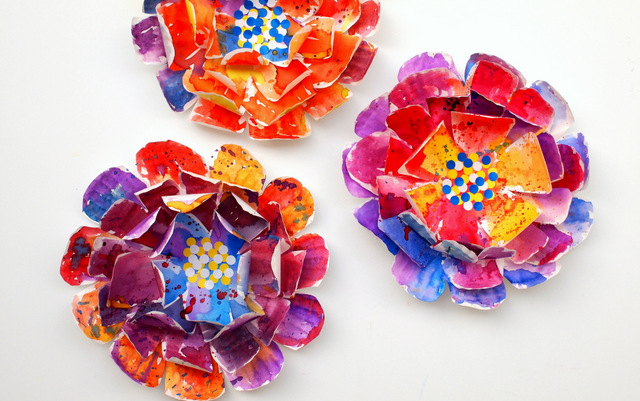 Colorful paper flower invitations