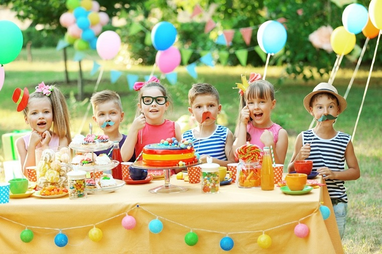 kids having fun celebrating a birthday party