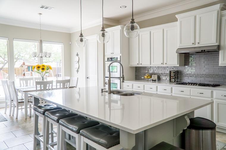 Huge clean white kitchen