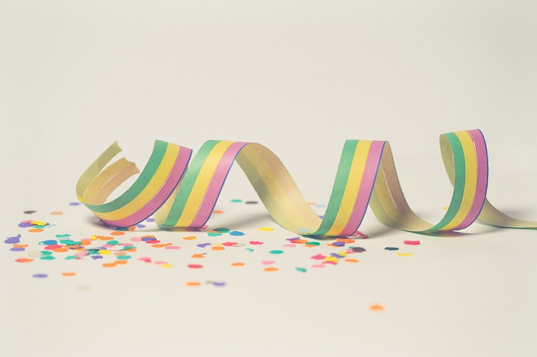 colorful spiral ribbon and confetti