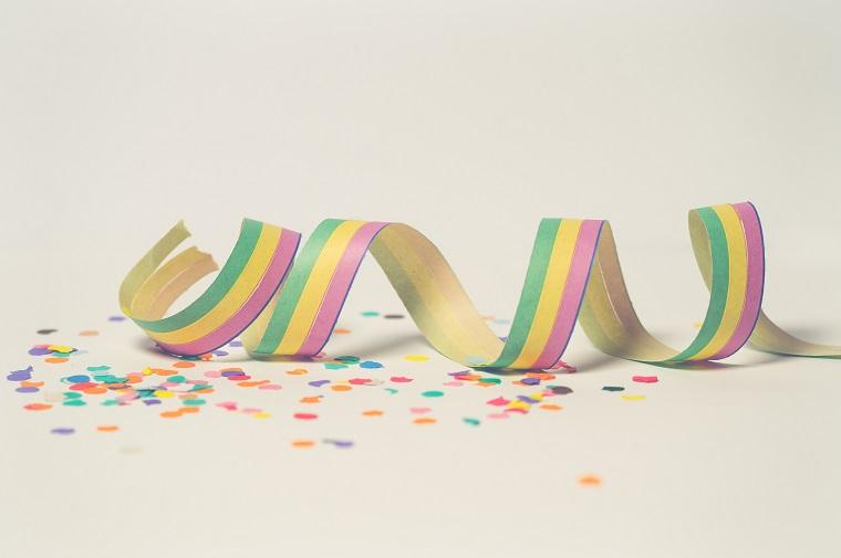colorful spiral ribbon and confetti