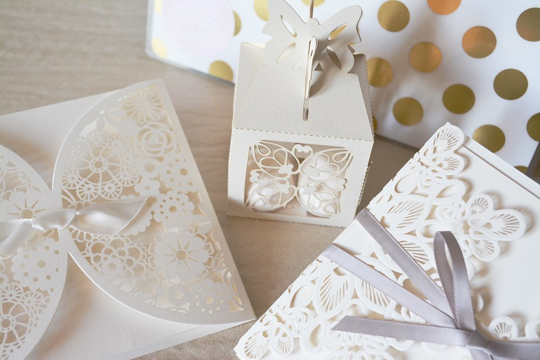 elegant white invitations