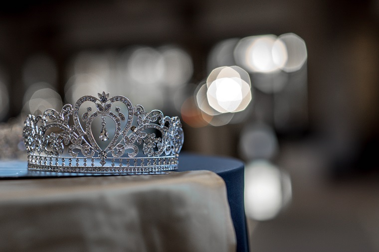 Beautiful silver tiara with jewels