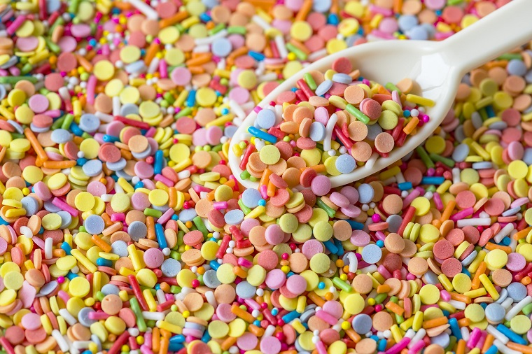 colorful sprinkles and rainbow