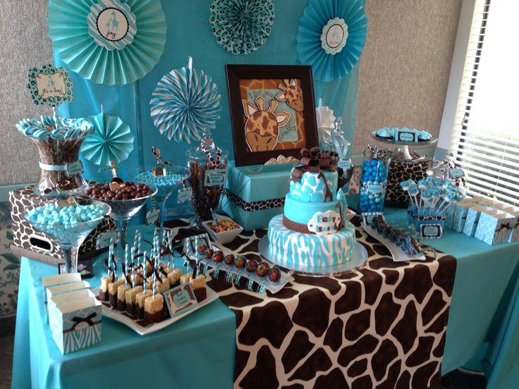 blue and brown jungle themed dessert table