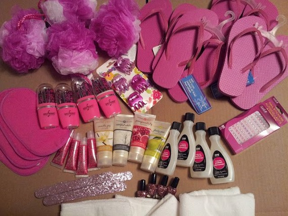 Planning a girl's sleepover party with pink items