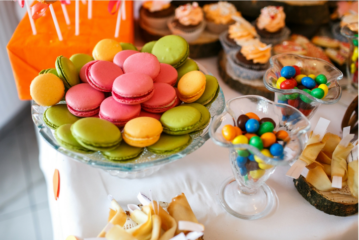 Candy, cookies and treats on table at party