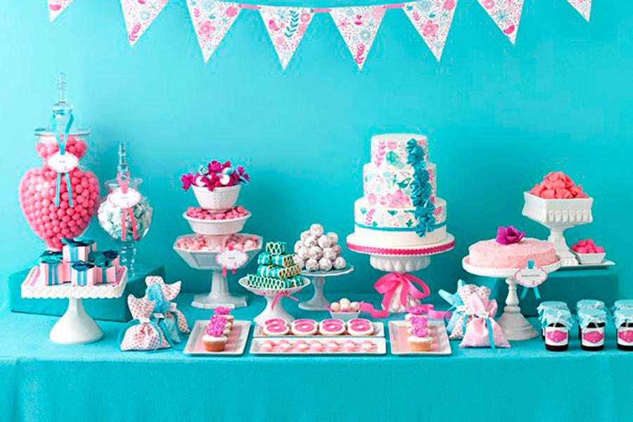 blue dessert table for kids birthday
