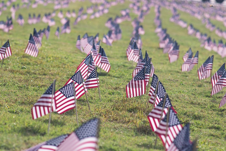 memorial day flags in field commemorating fallen soldiers in war