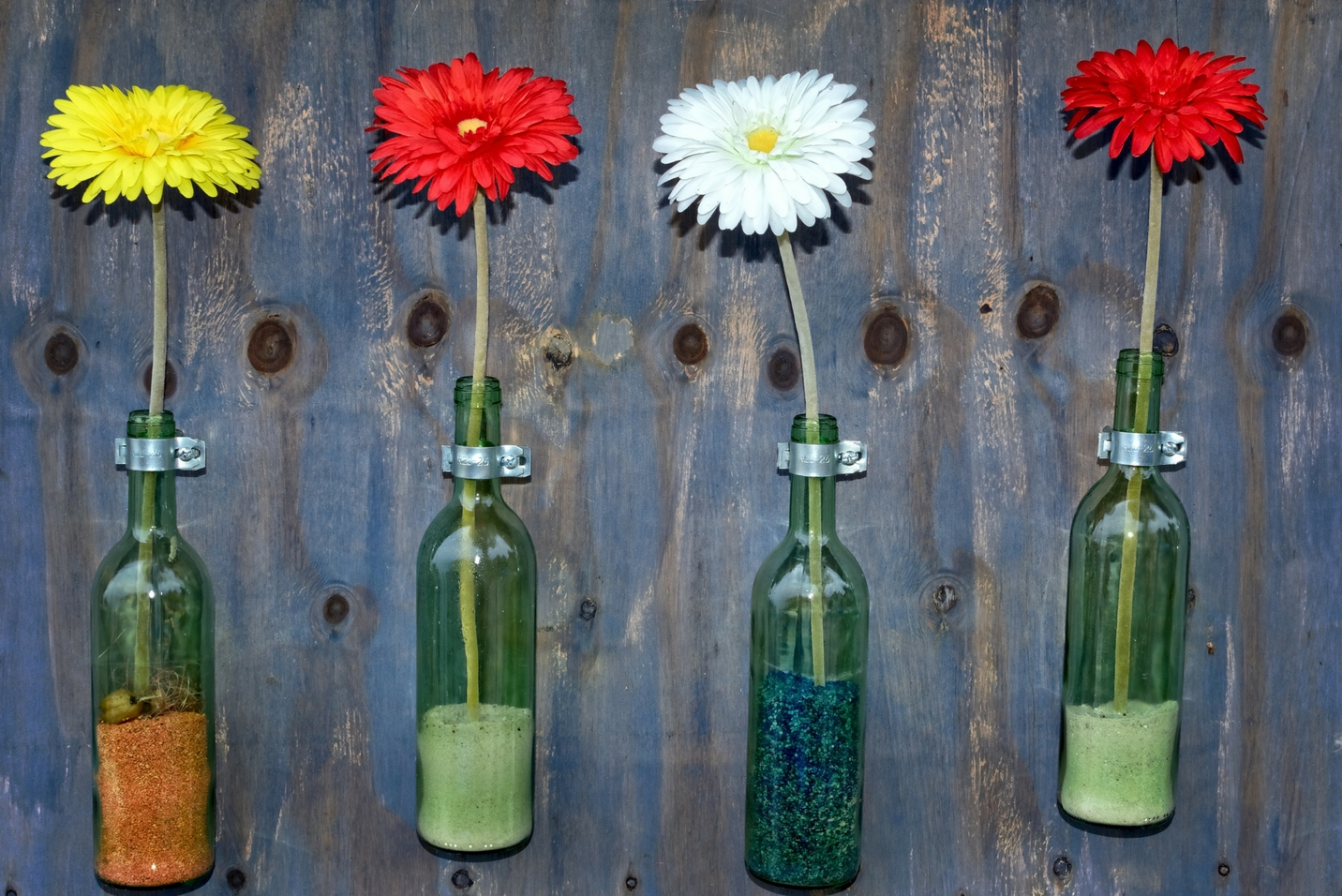 Decorative glass recycled bottles at party