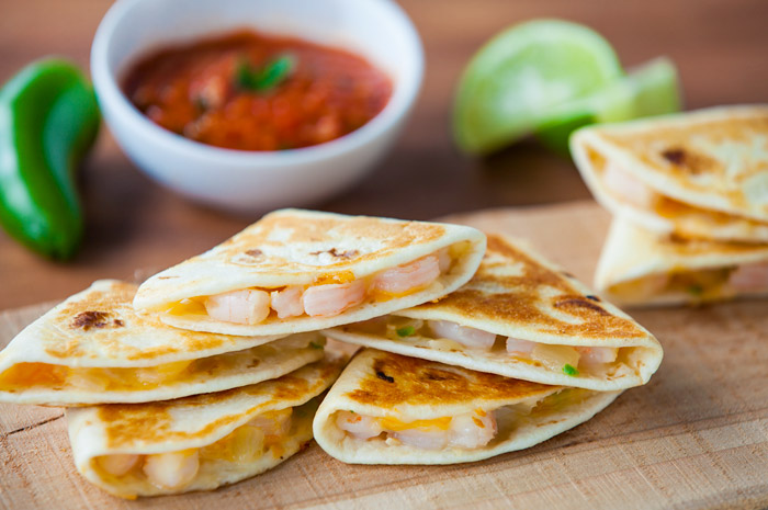 Perfect shrimp quesadillas on platter for birthday party