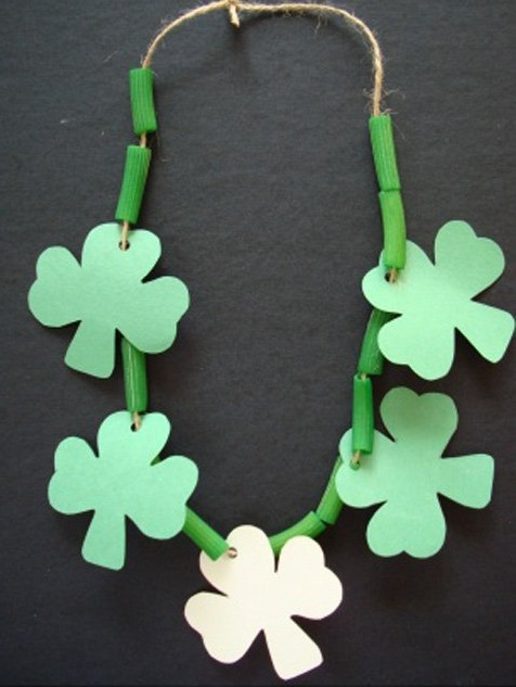 Green Noodle Necklace with Paper Shamrocks