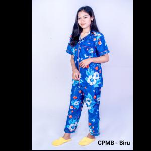CPMB - PIYAMA LENGAN PENDEK CELANA PANJANG MOTIF BUNGA - BIRU