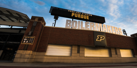 Ross-Ade Stadium sign against a blue sky
