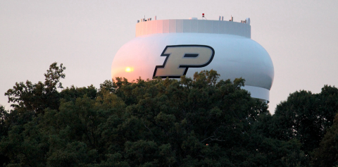 Water Tower painted with the Purdue Motion P