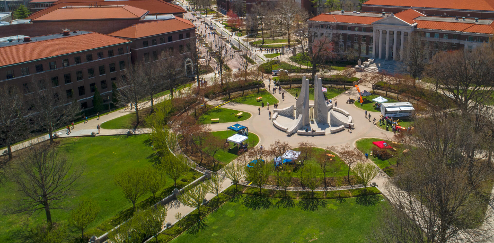An aerial view of the Engineering Fountain