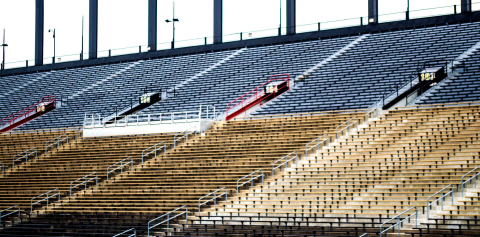 The empty bleachers of Ross-Ade stadium