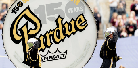 The Purdue Big Bass Drum, resurfaced to commemorate Purdue's 150th anniversary
