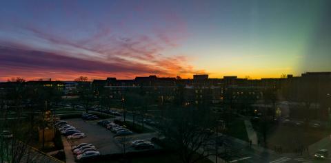 Sunset captured on Krach Leadership Center