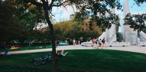 Students relax next to the Engineering Fountain