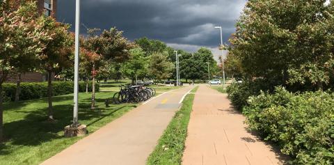 A bike path on a stormy day