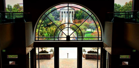 A view of the Engineering Fountain through the large windows of the MSEE building