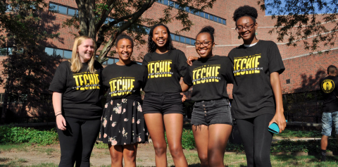 "A group of Purdue Polytechnic students wearing shirts that say ""I'm a techie"""