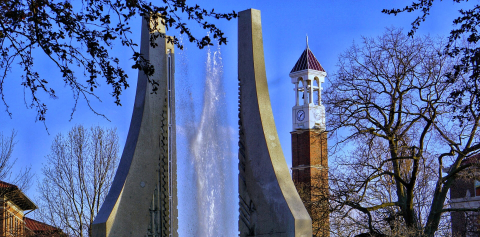 The Engineering Fountain in front of the Purdue Bell Tower