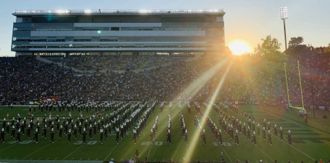The Purdue Marching Band performing during halftime at Ross-Aid Stadium