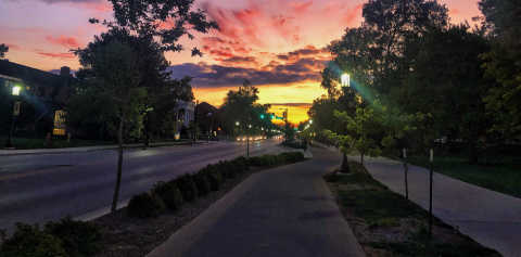A pink sunset on campus